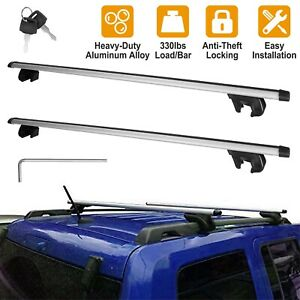 2 X 48 Universal Car Top Roof Rack Cross Bar Luggage Carrier Rack W Lock Key