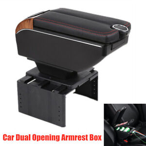7 Usb Charging Universal Car Dual Opening Armrest Box Central Console Cup Holder