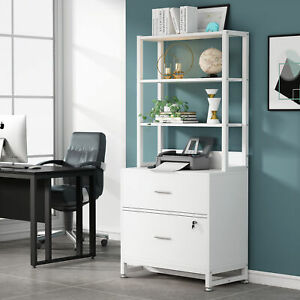 Tribesigns 2 Drawer Vertical File Cabinet With Lock And 3 Open Storage Bookshelf