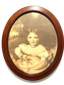 Antique Victorian Inlaid Wooden Oval Photo Picture Frame 10 5 X 8 5