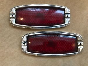 1941 48 Chevrolet Stimsonite Red Glass Tail Light Brake Lens Bezels Lot 1547