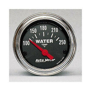 Auto Meter Traditional 100 250f Chrome Electric Water Temperature Gauge 2 1 16