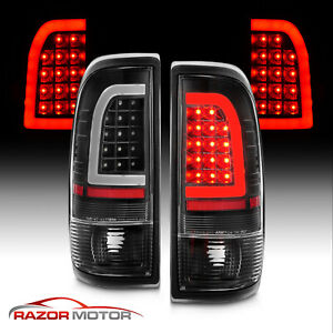 For 1997 2003 Ford F150 99 07 F250 F350 Black Led Tube Tail Lights Brake Lamps