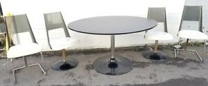 Mid Century Modern Chromecraft Style Smoked Dining Set W 4 Lucite Chairs