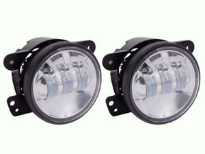 Heise 4 Inch Round 6 Led Factory Fog Lights W Silver Face For 2007 2009 Jeep Jk