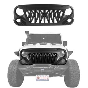Replaced Matte Black Abs Shark Muscle Front Grill Fit 07 18 Wrangler Jeep Jk jku