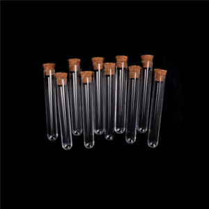 10 Pcs Clear Test Tube With Cork Glass Lab Bottle Supplies Glassware 75 150mm