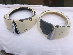 Two 56 1956 Ford Victoria Car Headlight Rings Body Trim Used Part See 12 Pics