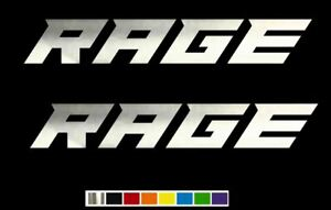 2 Rage Bold Custom Racing Vinyl Decal Set Custom Size Color For Cars Trucks