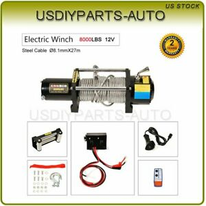 12v 8000lbs Electric Steel Cable Rope Winch Truck Boat Off Road Atv Utv
