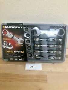 Gearwrench 9550 10 Pc Metric Stubby Flex Head Combination Ratcheting Wrench Set