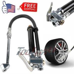 Dual Head Chuck Air Compressor Air Tire Inflator With Pressure Gauge Tools