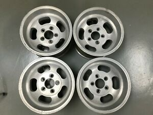 Vintage Ansen Sprint14x8 Aluminum Slot Mags Wheels Ford Uni Lug Spacing Set Of 4