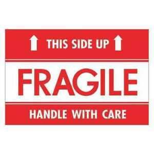 Tape Logic Dl2156 Labels fragile this Side Up hwc 2 x3 Red white 500