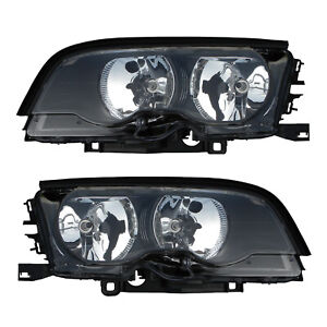 Halogen Headlights Front Lamps Pair Set For 99 01 Bmw 3 Series E46 Left Right