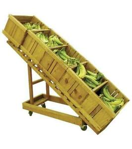 Wooden Produce Display On Wheels Slanted Foldable For Storage All Wheels Lock