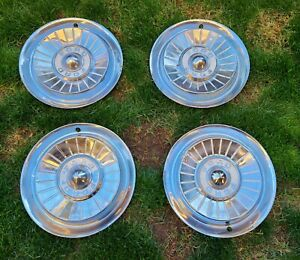 Set Of 4 1957 Ford Vintage 14 Hubcaps Fairlane Thunderbird Sunliner Galaxie