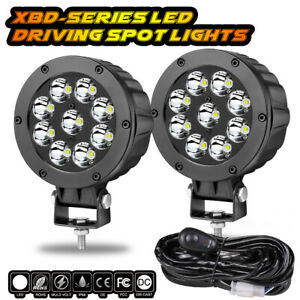 Wiring Kit 5 Cree Round Led Driving Spot Lights Bar Work Pods Off Road 12v X2