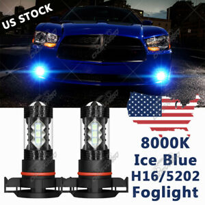 Para For Dodge Charger 2010 2014 Blue H16 5202 Led Faros Antiniebla Bombillas