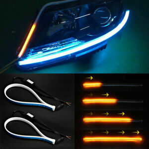 1 Pair Car Parts Soft Tube Led Strip Daytime Running Lights Turn Signal Lamps