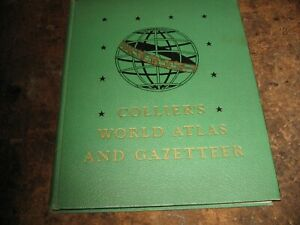 Vintage 1949 Collier S World Atlas And Gazetteer Hardcover Book Maps Large