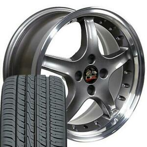17 Anthracite W Rivets Wheel Toyo Tire Set Fits Mustang Cobra R Style
