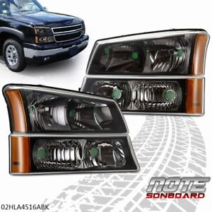 Pair Black Housing Headlights Park Signal Lights For 2003 2006 Chevy Silverado