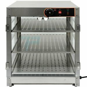Food Warmer Commercial Court Heat Food Pizza Display Warmer Cabinet 3 tier Glass