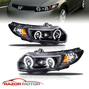 led Halo for 2006 2007 2008 2009 2010 2011 Honda Civic Coupe Black Headlights