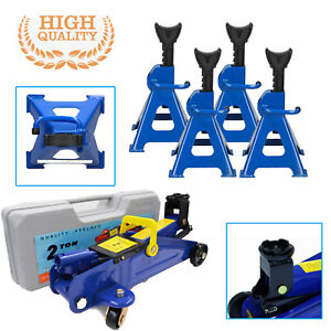 2 3ton Hydraulic Lift Floor Jack And Jack Stand Adjustable Portable Heavy Duty