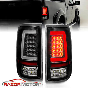 Fit 2004 2005 2006 2007 2008 Ford F150 Pickup Black Led Tube Tail Lights Lamps