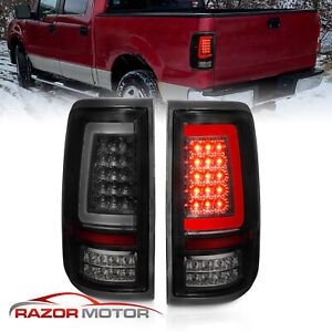 Fit 2004 2008 Ford F150 Pickup Black Smoke Led Tube Tail Lights Brake Lamps