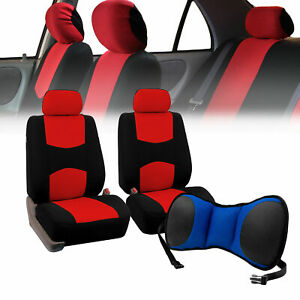 Front Bucket Seat Covers Red With Seat Back Cushion Pad Blue For Auto Suv Van