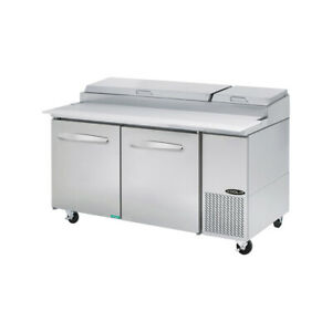 Kool it Kpt 67 2 67 Two Section Refrigerated Pizza Prep Table 20 2 Cu Ft
