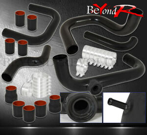 For 90 93 Integra Ls Turbo Aluminum Piping Kit Rs Bov Adapter Black Red Couper