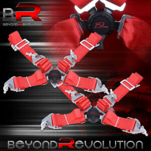 Red 2x 4 Point 2 Strap Camlock Safety Seat Belt Harness Racing Drift Drag