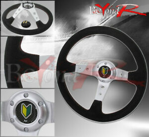 Tuning Racing Leather Steering Wheel Chrome Center Circles Designed Jdm Horn