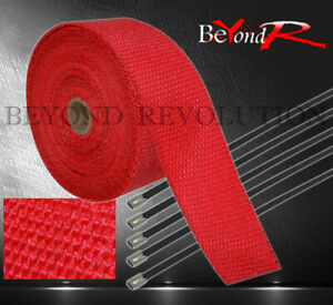 360 30ft Car Motorcycle Muffler Pipe Header Heat Wrap Roll stainless Tie Red