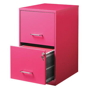 Space Solutions 20879 2 Drawer File Cabinet Pink Letter