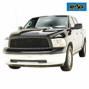 Eag Fit 09 12 Dodge Ram 1500 Rivet Mesh Grille Abs Black Replacement W Shell