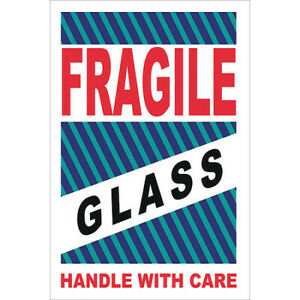 Nmc Lr12al Fragile Glass Handle With Care Label