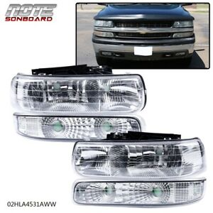 Clear Lens Headlights Assembly For 1999 2002 Chevy Silverado Bumper Lamps Lh Rh