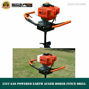 Post Hole Digger 52cc Gas Powered Earth Auger Borer Fence Drill 4 6 8 Bits