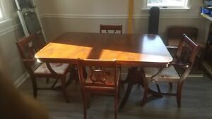Antique Vintage 1940 Duncan Phyfe Dining Room Table Chairs Leaf And Pad