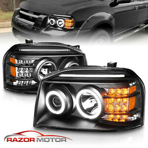 For 2001 2002 2003 2004 Nissan Frontier Led Halo Projector Headlights Pair