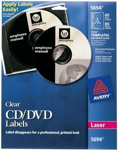 New Avery 5694 Clear Laser Cd Dvd Labels 40 Disc Labels 80 Spine Labels