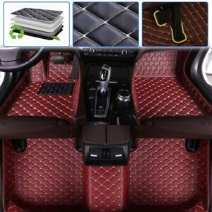 Custom Car Floor Mats For Jeep Grand Cherokee 2011 2018 Full Coverage wine Red