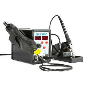 898d Smd Soldering Iron Hot Air Rework Station Digital 2 In 1 W 11 Iron Tips