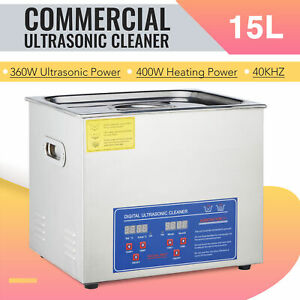 15l Commercial Ultrasonic Cleaner Electric Ultrasound Clean Machine Timer Heater