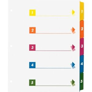 Business Source 21908 Color Coded Table Of Contents tabs Index Dividers 5 Pk24